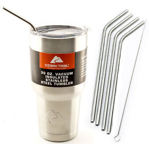 4 Bend LONG 30 oz Stainless Steel Straws for Ozark Trail Ounce Double-Wall