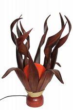 Exotische Palmblatt Tischleuchte Lampe Handarbeit Kugel orange 50cm
