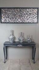 French Provincial Long Sideboard Table Dresser Bathroom Antique Carved Black