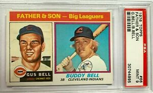 1976 Topps Father & Son #66 Gus Bell & Buddy Bell Mint PSA 9