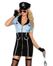 Sexy Police Officer Halloween Costume Small S Women Bad Cop Blue Black Dress