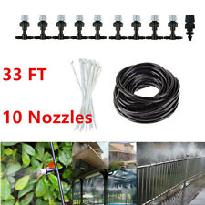 33ft Outdoor Garden Patio Misting Cooling Water Irrigation System 10 Nozzles