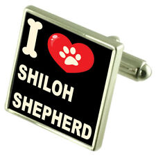 I Love My Dog Silver-Tone Cufflinks Shiloh Shepherd