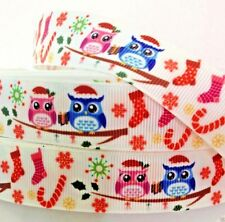 "Grosgrain Ribbon 7/8"" Christmas Owls Having Fun Printed for Hairbows"