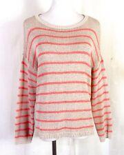 euc Ann Taylor LOFT Beige/Orange Striped Sweater ramie cotton nylon PL