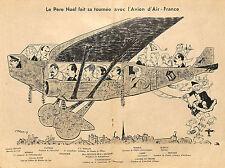 AVION AIR-FRANCE TOURNEE DU PERE NOEL DESSIN ILLUSTRATION 1934