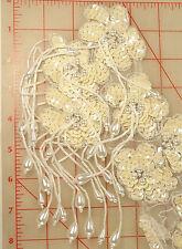 "Large long beaded sequins bodice applique ivory & white with beaded fringe 17"""