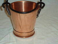 Small Copper & Iron Bucket Vintage Style Nice For Restaurant Chips - Farm house