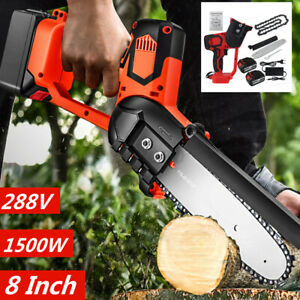 1500W Cordless Electric Chain Saw Wood Cutter Mini One-Hand Saw Woodworking 288V