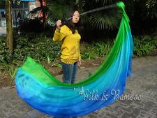 2pcs 2.3m*0.9m green-turquoise-blue silk veil poi+bag, steel chain,edges rolled