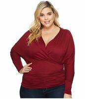 Kiyonna Women's Top Maroon Red 2X Femme Faux Wrap Style Made In USA 18 20
