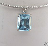 Genuine 11X9mm 9.50ct Octagon Blue Topaz Sterling Silver 925 Pendant skaisAU14