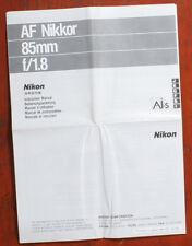 NIKON 85/1.8 AF NIKKOR AI-S INSTRUCTION BOOK, FOLD-OUT, 8 PANELS/157252