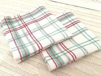 Vintage NAPKINS Red & Green Plaid Christmas Country Cabin Cotton Linen Set of 2