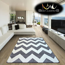 AMAZING THICK MODERN RUGS SKETCH ZIG-ZAG GREY WHITE FA66 X SIZE BEST-CARPETS