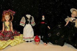 """Lot of 4 Vintage 1950's Hard Plastic Dolls w/ Mohair & Sleepy Eyes 7"""" For REPAIR"""
