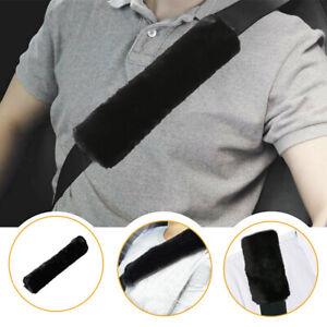 2x Car Auto SUV Sheepskin Seat Belt Covers Shoulder Strap Pads Cushion Headrest