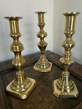 More details for brass candlesticks job lot 3 medium length