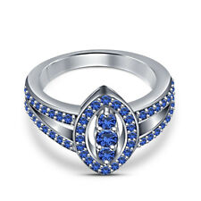 Gold Plated Round Cut Blue Sapphire Female Wedding Marquise Shape Ring 18k White