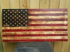 "48""x 26"" Handmade Wood Patina American Flag Distressed United States Of America"