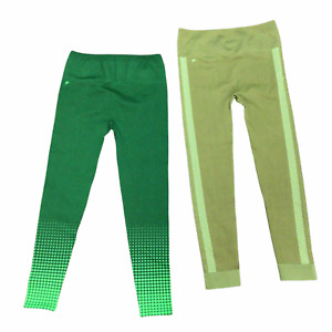 Fabletics Large High Waisted Seamless Check & Dot Leggings Green NWT 2 Pairs