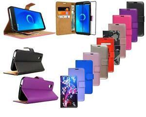 For Alcatel 1 5033X New Black Leather Wallet Phone Case Cover + Screen Glass