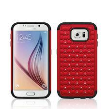 For SAMSUNG Galaxy S6 RED BLACK DIAMOND SKIN HYBRID COVER CASE +SCREEN