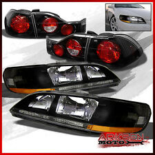 Fits 98-02 Honda Accord Amber BLK Headlights+Corner+Bk Altezza Style Tail Lights