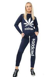 Ladies Addicted  2 PCs Co-Ord Stretch Jogging Bottom Lounge Pants Tracksuit Set