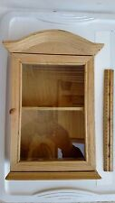 """COUNTRY WOOD AND GLASS CURIO TRINKET CABINET FREE STANDING REMOVABLE SHELF 13"""""""