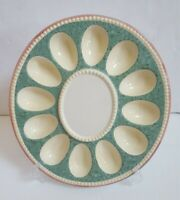 "PFALTZGRAFF MULTI-COLOR 12"" Sculpted Deviled Egg Plate Holds 12 Eggs"