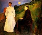 MOTHER AND DAUGHTER SITTING STANDING BLACK WHITE PAINTING BY EDVARD MUNCH REPRO