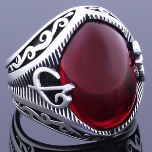 Solid 925 Sterling Silver Turkish Oval Red Ruby Stone Men's Ring