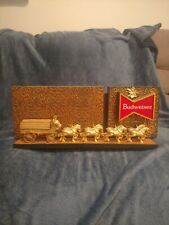 """1970's Budweiser Wagon & Clydesdale Horses Beer Sign 17 1/2"""" x 6 3/4"""" RARE!!"""