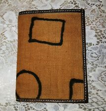 Men Wallet Bifold-Tan Pattern Black Stripes Brown Leather Trim Interior