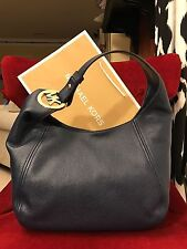 NWT MICHAEL KORS LEATHER FULTON LARGE SLOUCHY SHOULDER HOBO BAG IN NAVY