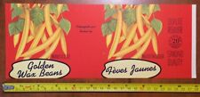 Golden wax beans RED Label tin can label vintage 1940's french Canadian fruits