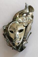 Vintage Rhinestone grandes Mardi Gras Máscara Broche