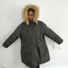 Madden Girl Long Black Puffer Coat Size 2X Winter Trench Pockets With Faux Fur