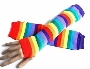 LLLucky Adult Kids Rainbow Stripes Short Gloves Fingerless Wrist Length Party Mittens Childrens Gloves