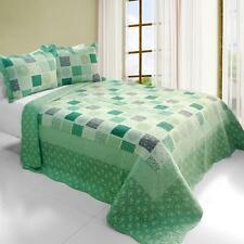 3 PC Green Fields square patches multi-pattern 100% Cotton Queen Quilt Shams