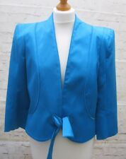 Turquoise Lined Cropped Jacket Tie Belt S14 Roman Originals NEW Cruise Wedding