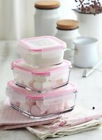 LAV Food Storage Containers Set of 3, Leak Proof Glass Meal Prepare with Lids