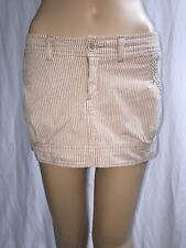 Hollister Micro Mini Skirt Size 3 Pale Brown White Vertical Stripes Sexy Style