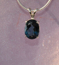 9mm X 7mm 3.10 CT OVAL SHAPE LONDON BLUE TOPAZ PENDANT-  .925 STERLING SILVER