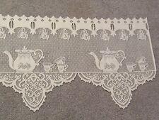 Ivory lace Tea Pot design Valance 60 W x 14.5 6L
