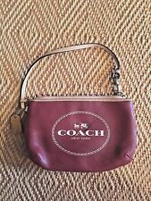 Coach Wristlet Bag Crimson Red F51788 Horse and Carriage New York Logo