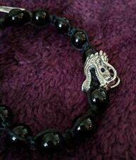 """Dragon Head w Cz Eyes on Onyx Bracelet 8"""" to 9"""" + White Howlite w Lapis Bracelet"""