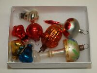 Vtg Glass Xmas Ornaments 8 Small FIGURAL Bells FINIALS Feather Tabletop Tree