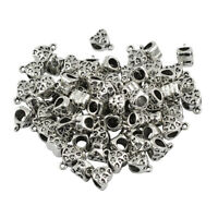 50pcs Silver Heart Shape Loose Large Hole European Beads with Bail Charms